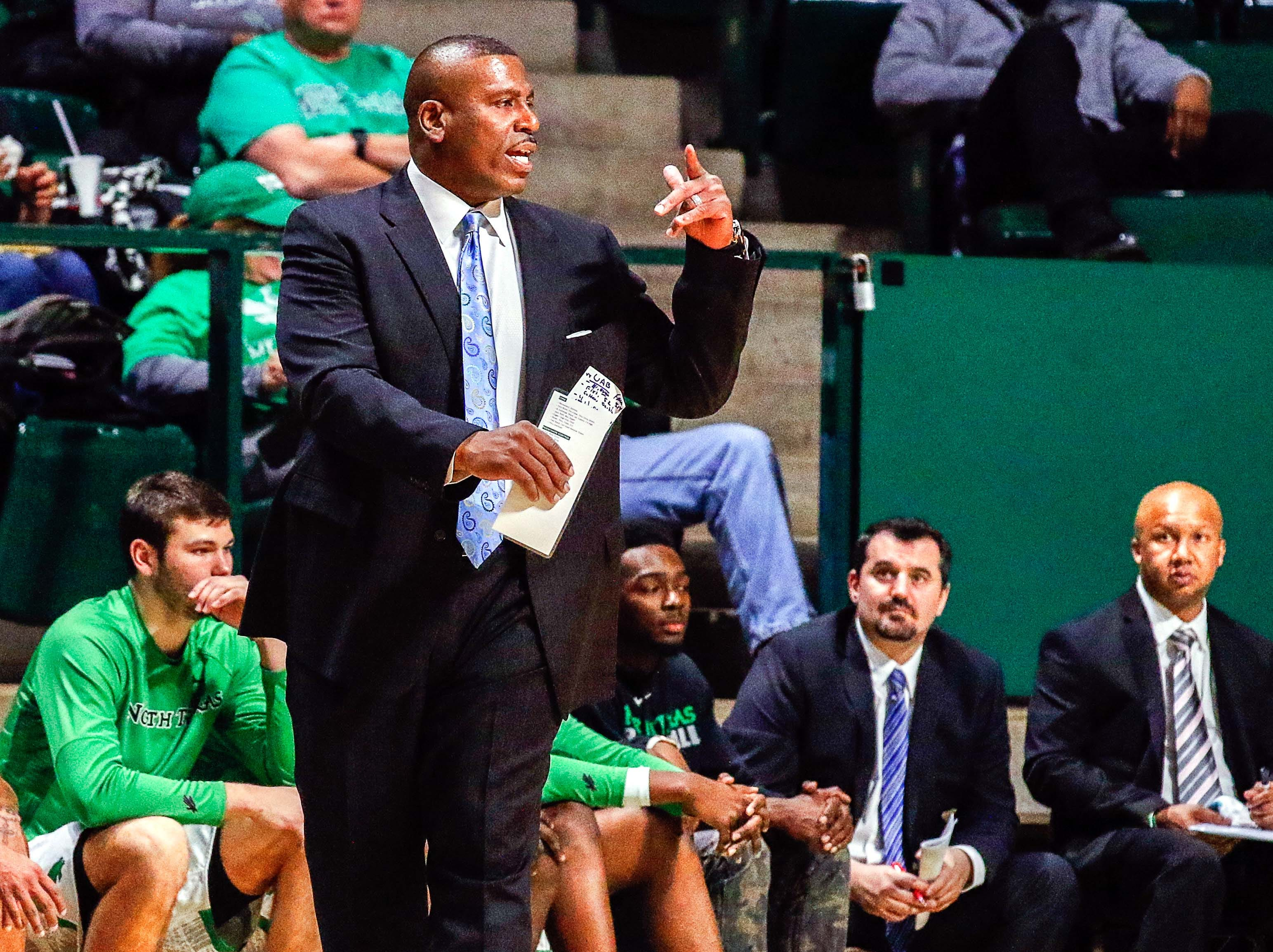 Jan 5, 2017; Denton, TX, USA; North Texas Mean Green head coach Tony Benford on the sidelines against the UAB Blazers during the second half at UNT Coliseum. UAB won 54-52. Mandatory Credit: Ray Carlin-USA TODAY Sports