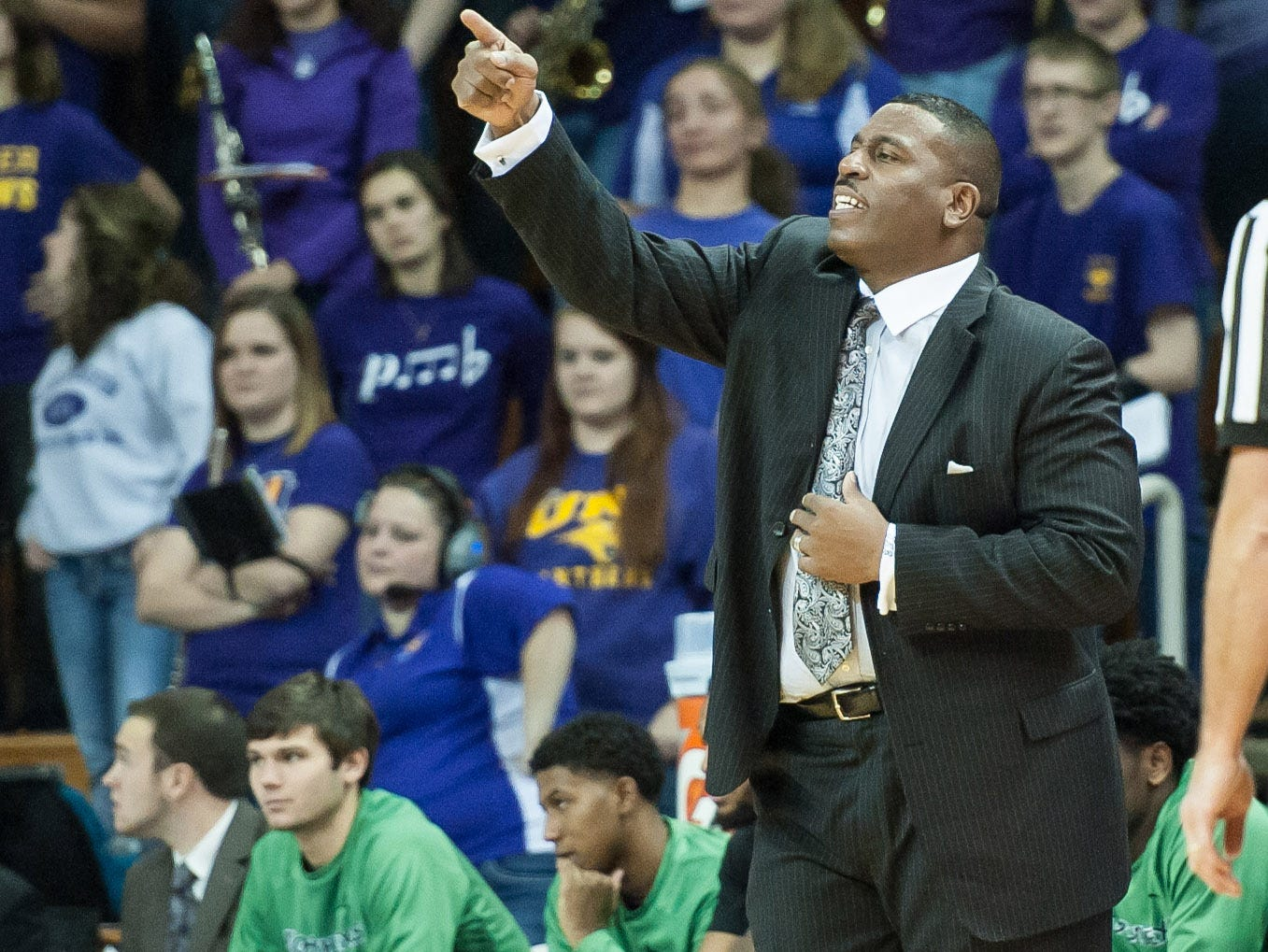 Nov 30, 2015; Cedar Falls, IA, USA; North Texas Mean Green head coach Tony Benford offers instructions during the second half against the Northern Iowa Panthers at McLeod Center. Northern Iowa won 93-70. Mandatory Credit: Jeffrey Becker-USA TODAY Sports
