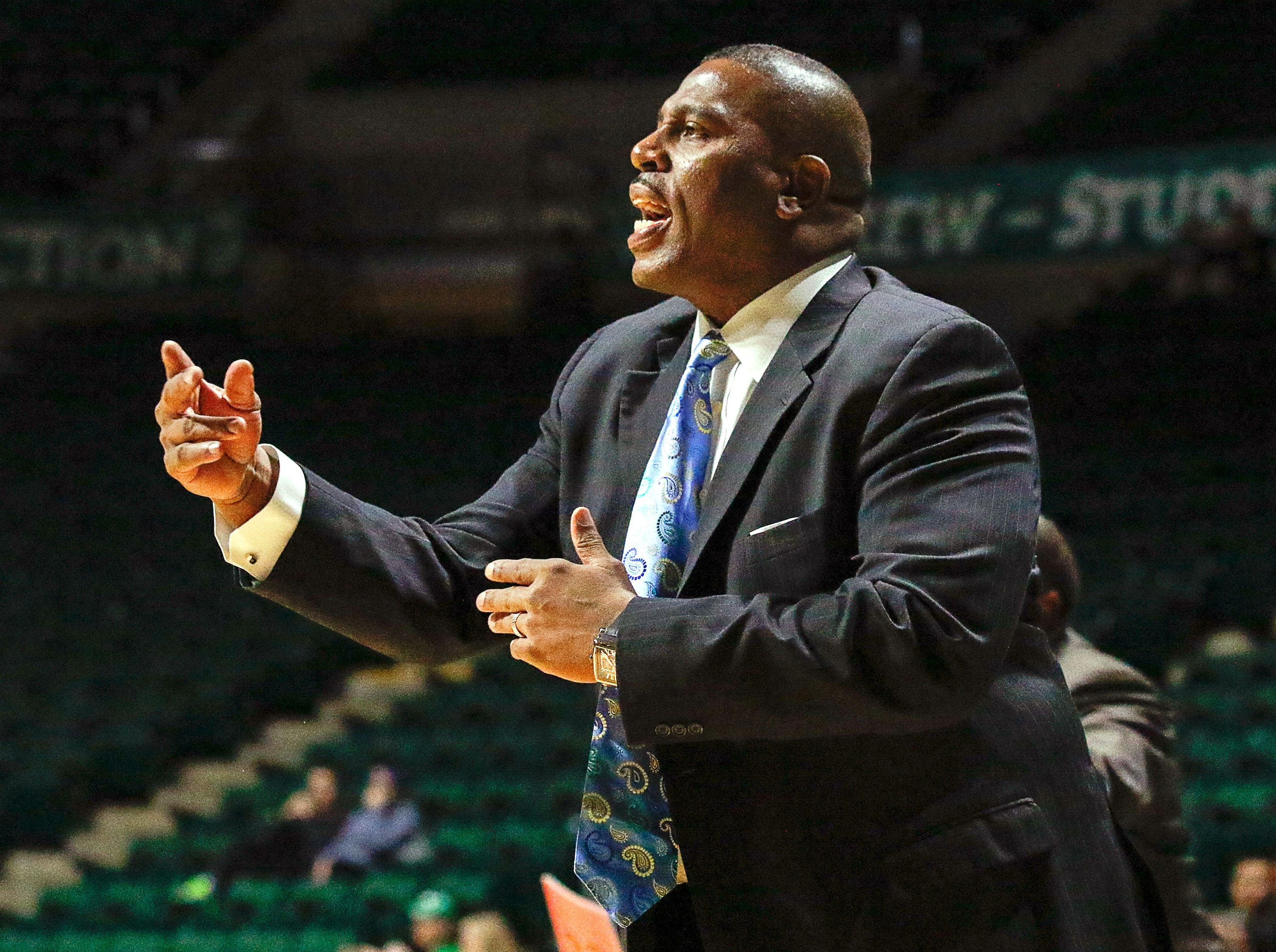 Jan 5, 2017; Denton, TX, USA; North Texas Mean Green head coach Tony Benford on the sidelines against the UAB Blazers during the first half at UNT Coliseum. Mandatory Credit: Ray Carlin-USA TODAY Sports