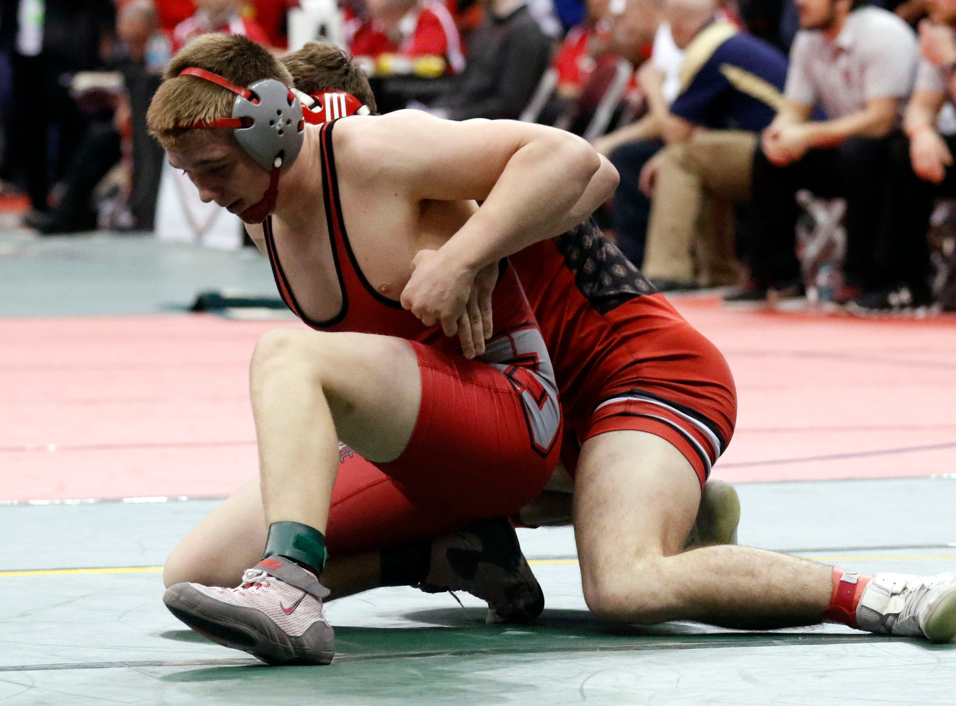 Bellvue's Collin Corapi wrestles during the State Wrestling Tournament Thursday, March 7, 2019, at the Jerome Schottenstein Center at Ohio State University in Columbus.