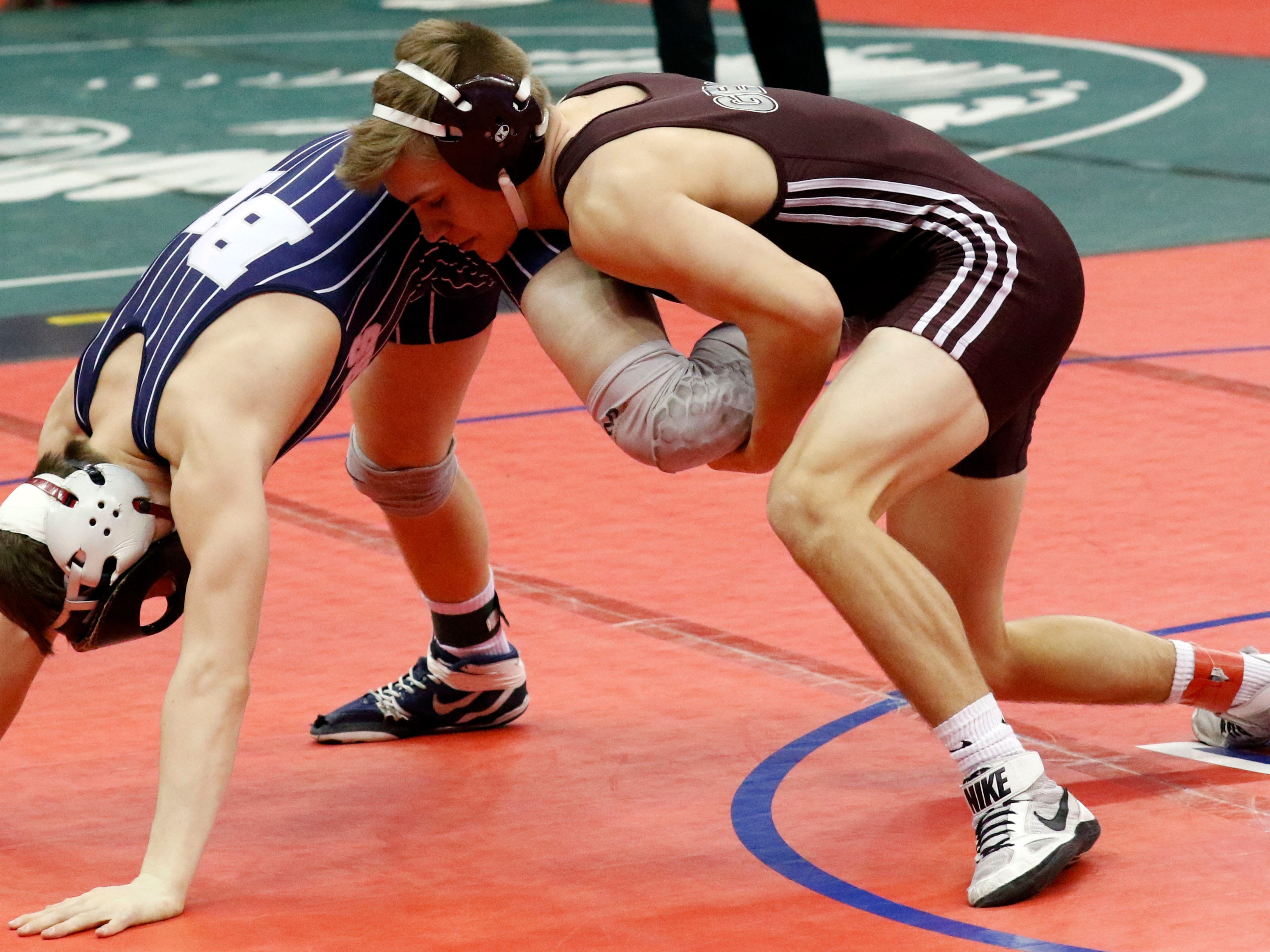 Genoa's Julian Sanchez wrestles Friday, March 8, 2019, during the State Wrestling Tournament at the Jerome Schottenstein Center at Ohio State University in Columbus.