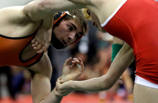 New Lexington's Blake Sheppard wrestles Friday, March 8, 2019, during the State Wrestling Tournament at the Jerome Schottenstein Center at Ohio State University in Columbus.