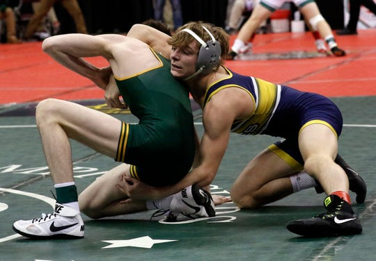 Lancaster's Logan Agin won twice on Friday and will wrestle for a state championship in the Division I 103-pound weight class on Saturday night at Ohio State's Value City Arena.