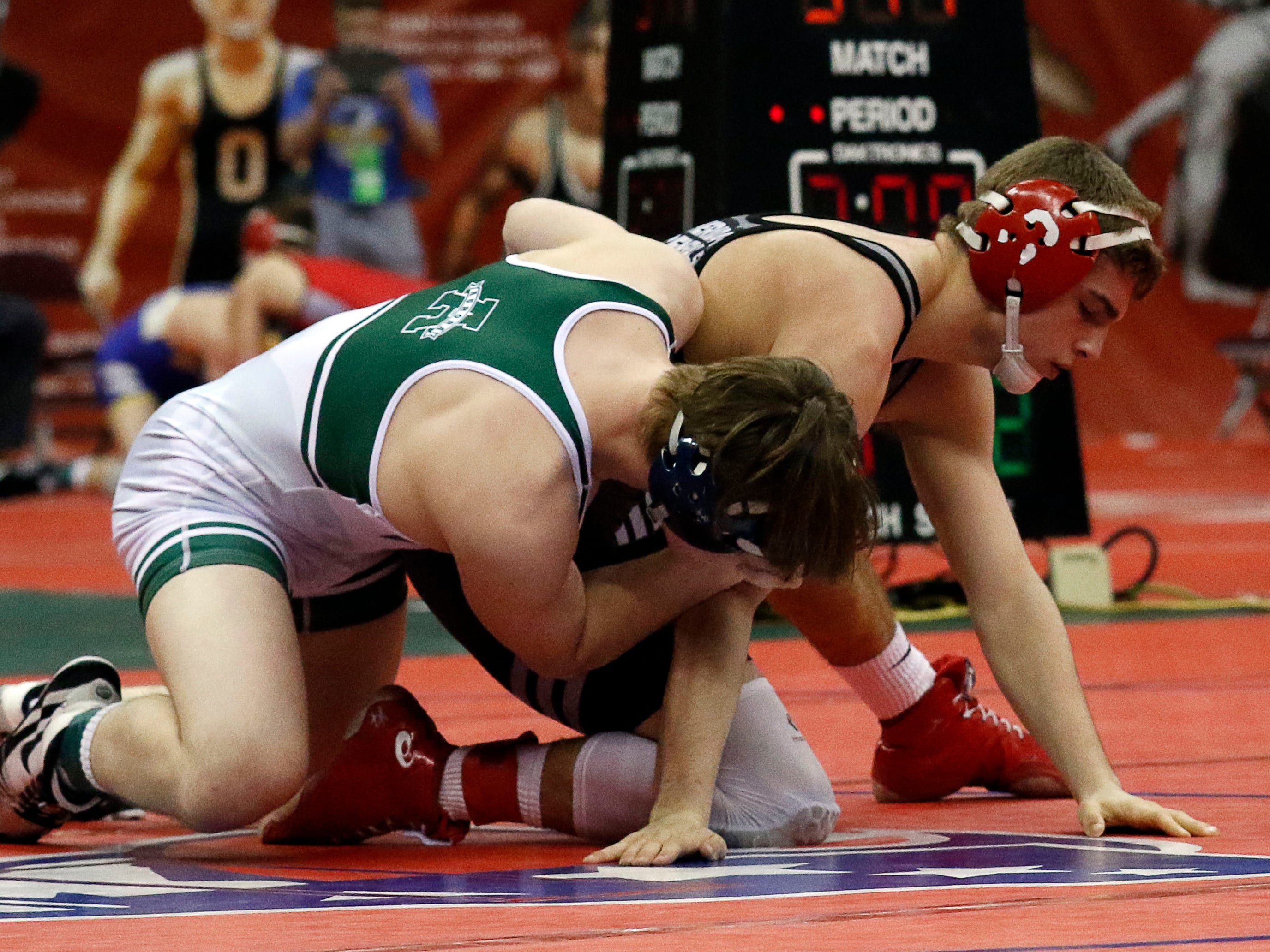 Licking Valley's Dylan Dodson wrestles Friday, March 8, 2019, during the State Wrestling Tournament at the Jerome Schottenstein Center at Ohio State University in Columbus.