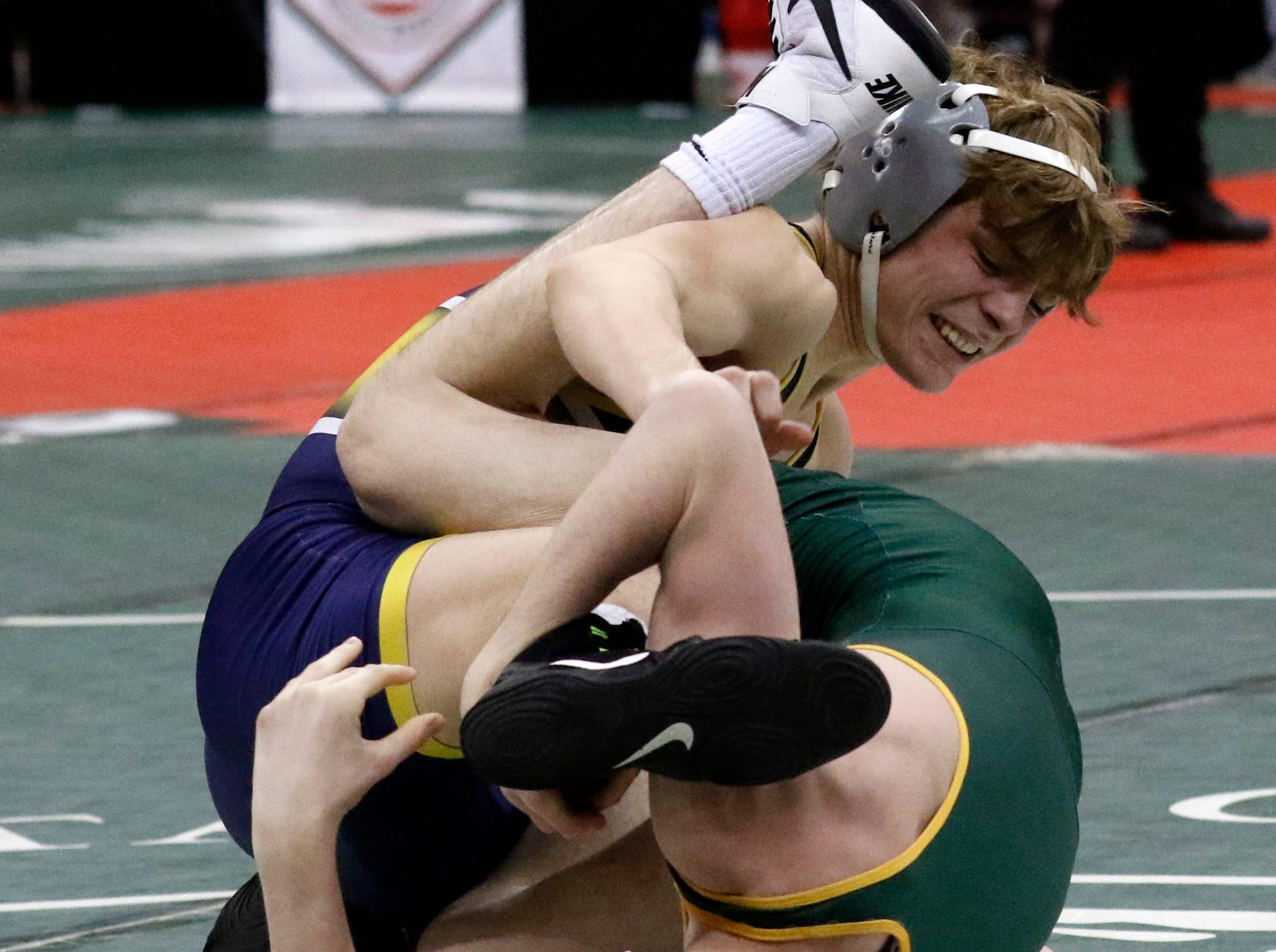 Lancaster's Logan Agin wrestles Friday, March 8, 2019, during the State Wrestling Tournament at the Jerome Schottenstein Center at Ohio State University in Columbus.