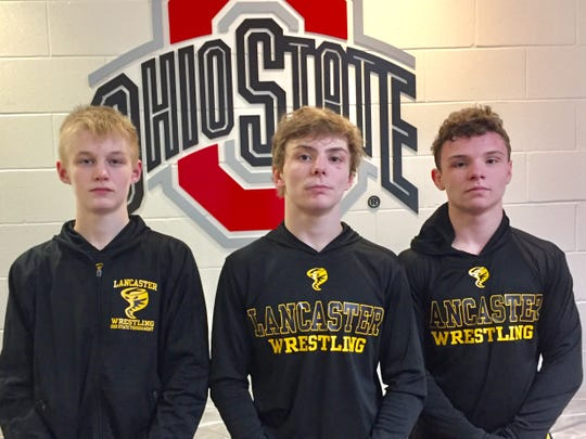 Lancaster's Jacob Hutsler, Logan Agin and Aiden Agin all won first-round matches during the Division I state tournament Thursday at Ohio state's Value City Arena.