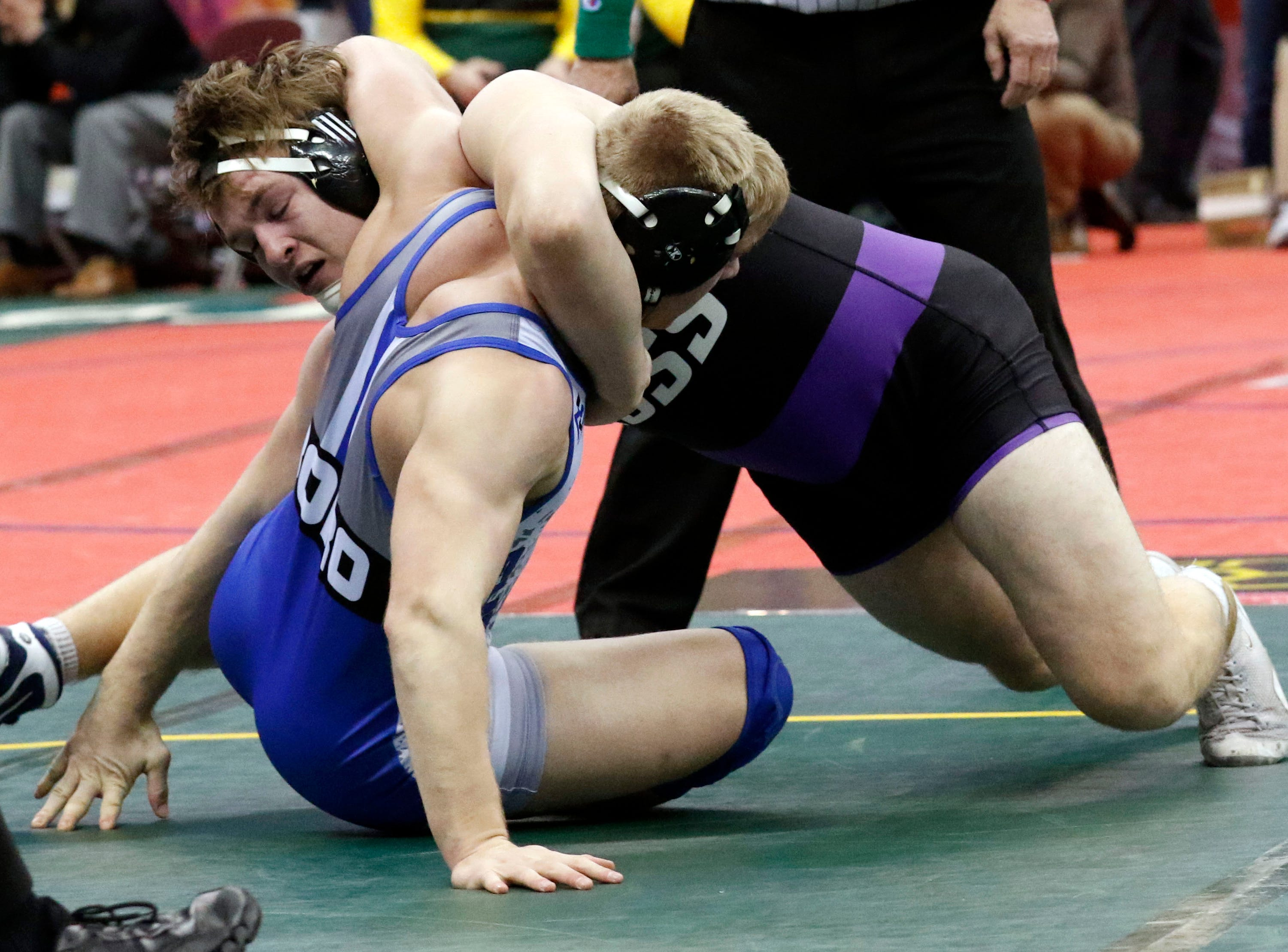 Fremont Ross' Caleb Wood wrestles during the State Wrestling Tournament Thursday, March 7, 2019, at the Jerome Schottenstein Center at Ohio State University in Columbus.