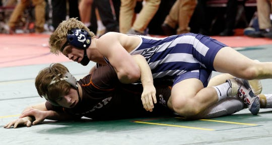 Granville junior Douglas Terry wrestles in a 145-pound match during the 2019 Division II state tournament. Terry, a returning state runner-up, finished the season 43-1 but did not receive an opportunity to compete for a state title because of the coronavirus outbreak.