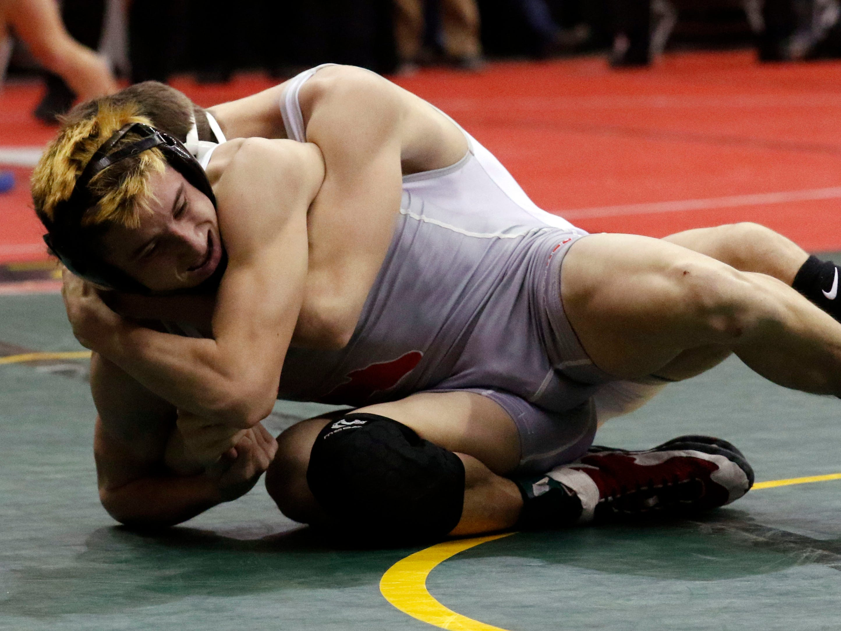 Westfall's Chanston Moll wrestles Friday, March 8, 2019, during the State Wrestling Tournament at the Jerome Schottenstein Center at Ohio State University in Columbus.