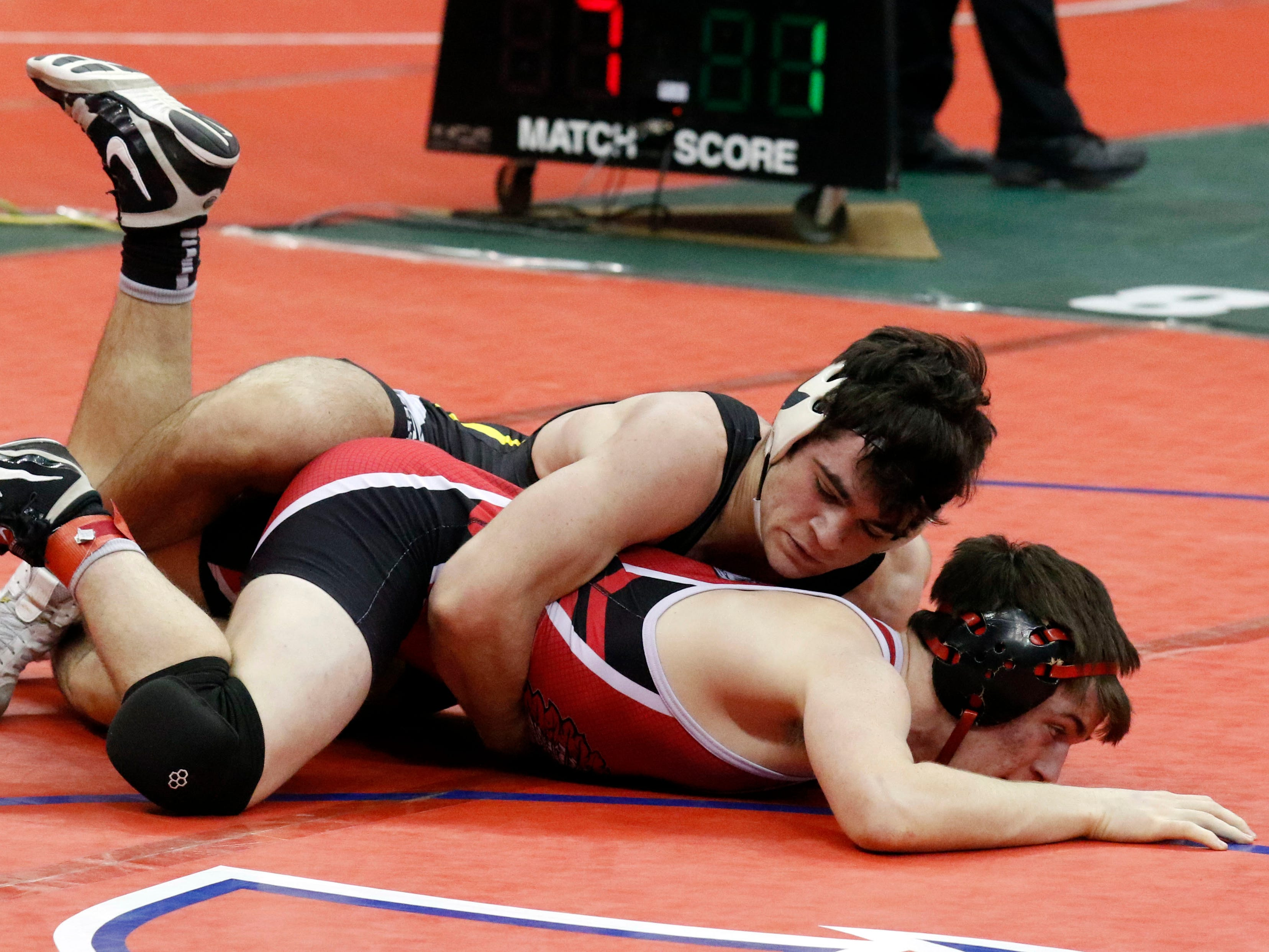 Northmor's Conor Becker wrestles Friday, March 8, 2019, during the State Wrestling Tournament at the Jerome Schottenstein Center at Ohio State University in Columbus.