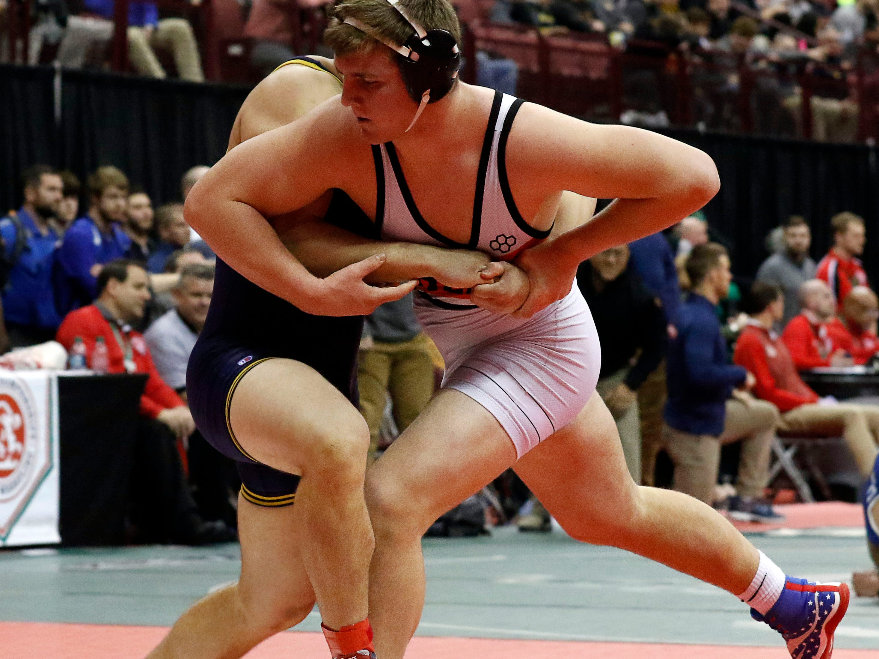 Ashland's Josh Bever wrestles during the State Wrestling Tournament Thursday, March 7, 2019, at the Jerome Schottenstein Center at Ohio State University in Columbus.