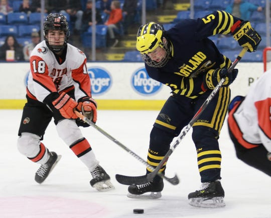 Hartland's Vlad Sarcevich keeps the puck away from Jack Owen-Turner of Birmingham Brother Rice in the state Division 2 hockey semifinals on Thursday, March 7, 2019 at USA Hockey Arena.