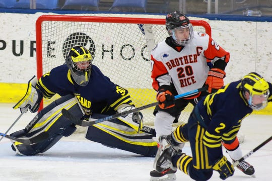 Hartland goalie Brett Tome made 27 saves in a 6-2 victory over Birmingham Brother Rice in the state Division 2 hockey semifinals on Thursday, March 7, 2019 at USA Hockey Arena.