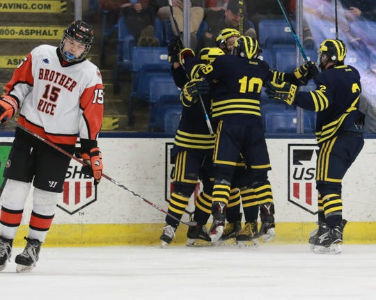 Nick Dippre of Birmingham Brother Rice shows dejection as Hartland celebrates one of its six goals in a state Division 2 hockey semifinal victory on Thursday, March 7, 2019 at USA Hockey Arena.