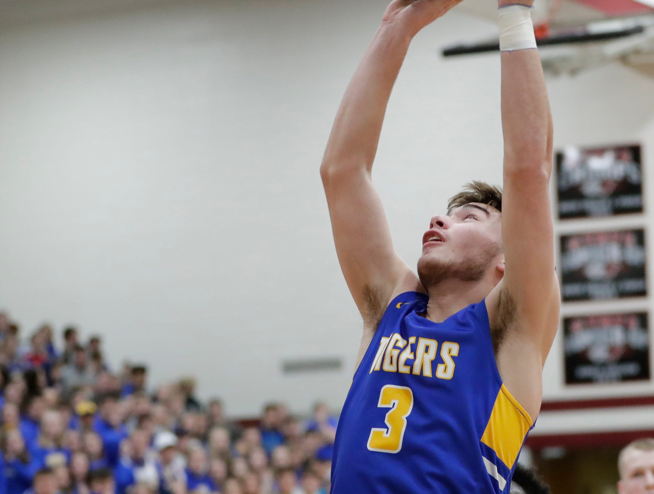 Howards Grove's Gavin Winter (3) shoots against Roncalli during a WIAA Division 4 sectional semifinal at New Holstein High School Thursday, March 7, 2019, in New Holstein, Wis. Joshua Clark/USA TODAY NETWORK-Wisconsin