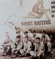 "WWII veteran Jack Graham served as a navigator on a consolidated B-24 liberator, which he and his crew had nicknamed ""Sweet Routine."" Pictured here, Graham is third from the left in the second row."
