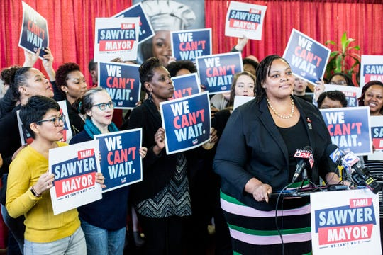Shelby County Commissioner Tami Sawyer speaks about her run for mayor of Memphis during a press conference at Makeda's Homemade Cookies on March 8.