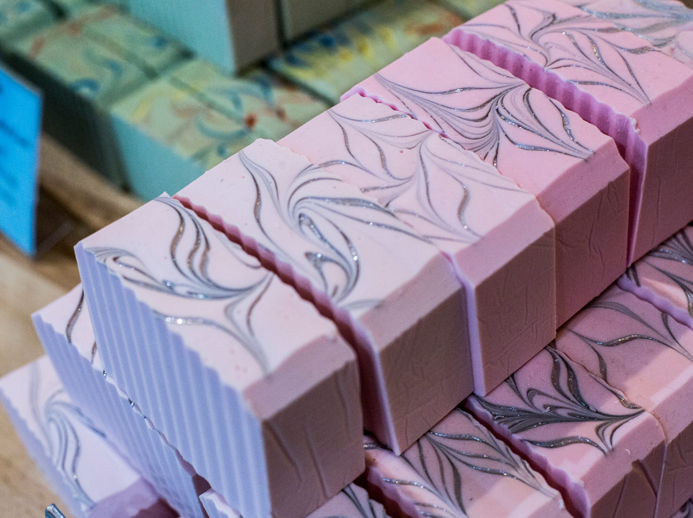 Pink Caddy, a kaolin clay shave soap, is just one of the soaps available at Buff City Soap.