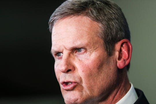 Tennessee Gov. Bill Lee, seen here speaking to the media in Memphis on March 7, maintains a 61% approval rating in a new Vanderbilt poll.