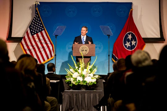 March 07, 2019 - Gov. Bill Lee speaks during his first State of West Tennessee address delivered at the University of Memphis Thursday night.