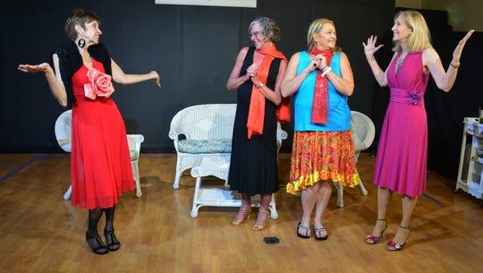 """Savannah Sipping Society"" cast, from left, Casey Cobb as Jinx Jenkins, Mai Puccio as Dot Haigler, Nancy Martin as Marlafaye Mosley and Patti Caroli as Randa Covington."