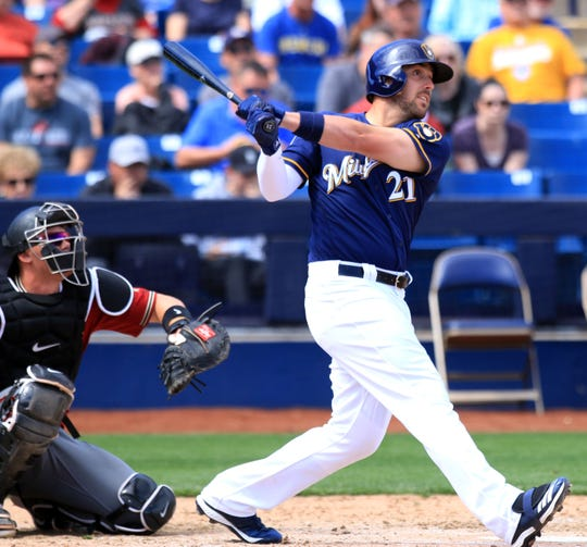 Travis Shaw eyes his second home run of the day during a spring training game against the Arizona Diamondbacks on Friday.