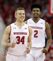 Wisconsin's Brad Davison (left) and Aleem Ford have played in 66 and 63 games, respectively, but neither one has played in the NCAA Tournament.