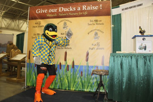 "Thirsty the Duck is part of a campaign to ""Give out Ducks a Raise"" by Bryan Muche. Muche has created a petition intended to spur Wisconsin officials to increase the price of the waterfowl hunting stamp, which hasn't been changed since 1997."