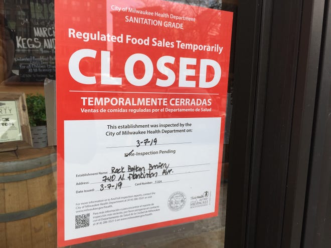 """The Rock Bottom Restaurant & Brewery in downtown Milwaukee remained closed Friday afternoon after Health Department inspectors on Thursday found """"numerous live and dead cockroaches"""" in kitchen and basement areas. The restaurant was to be reinspected Friday and can re-open if it passes."""
