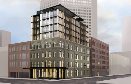 Kinn, a new boutique hotel planned for downtown Milwaukee, would feature five new floors built atop a four-story historic building.
