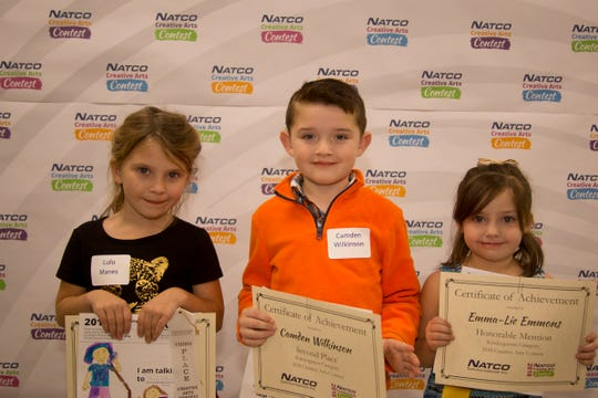Kindergarten Winners of the NATCO annual Creative Arts Contest are: (from left) Lulu Manes, Camden Wilkinson and Emma-Lie Emmons.