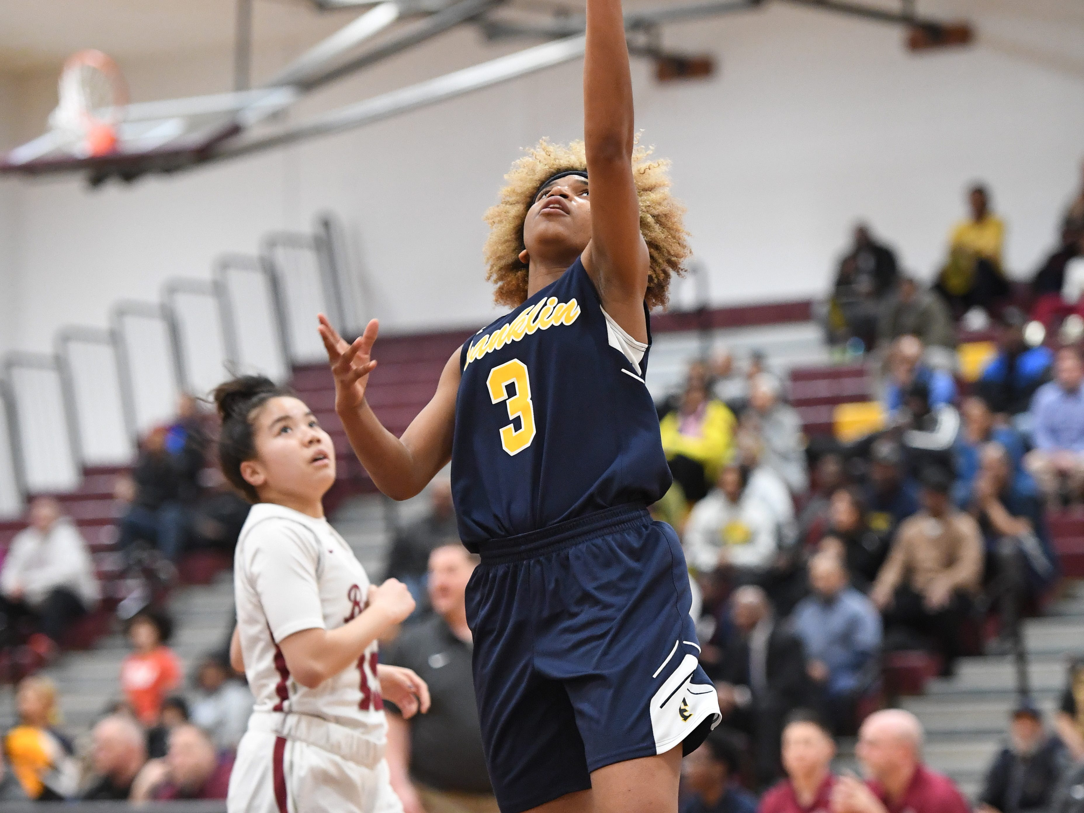 Franklin vs. Bloomfield in the girls basketball Group IV semifinal at Union High School on Thursday, March 7, 2019. F #3 Tiana Joy Jackson drives to the basket.