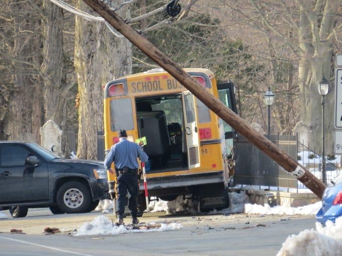 Scene of school bus crash, outside Rockaway Valley Methodist Church on Valley road, Boonton Township March 8, 2019.