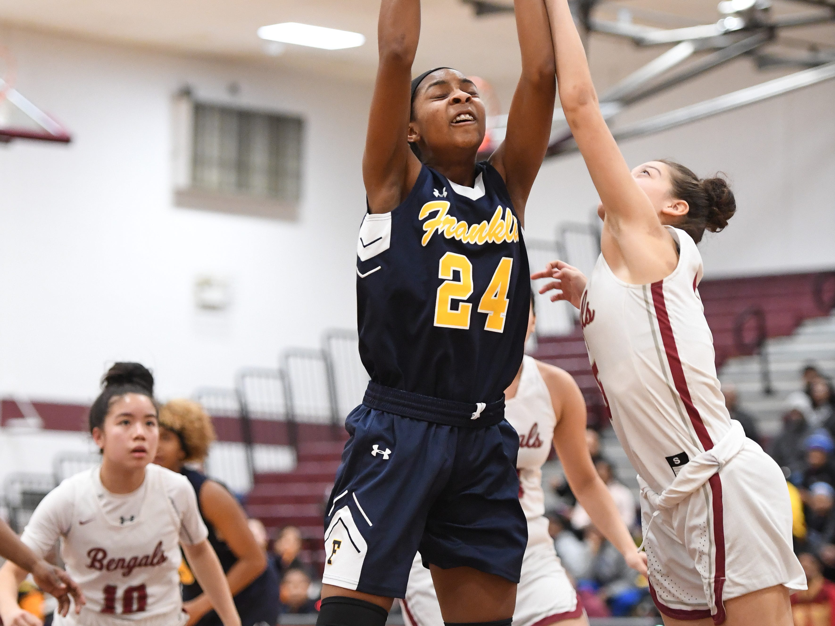 Franklin vs. Bloomfield in the girls basketball Group IV semifinal at Union High School on Thursday, March 7, 2019. F #24 Christina Midgette grabs a rebound.