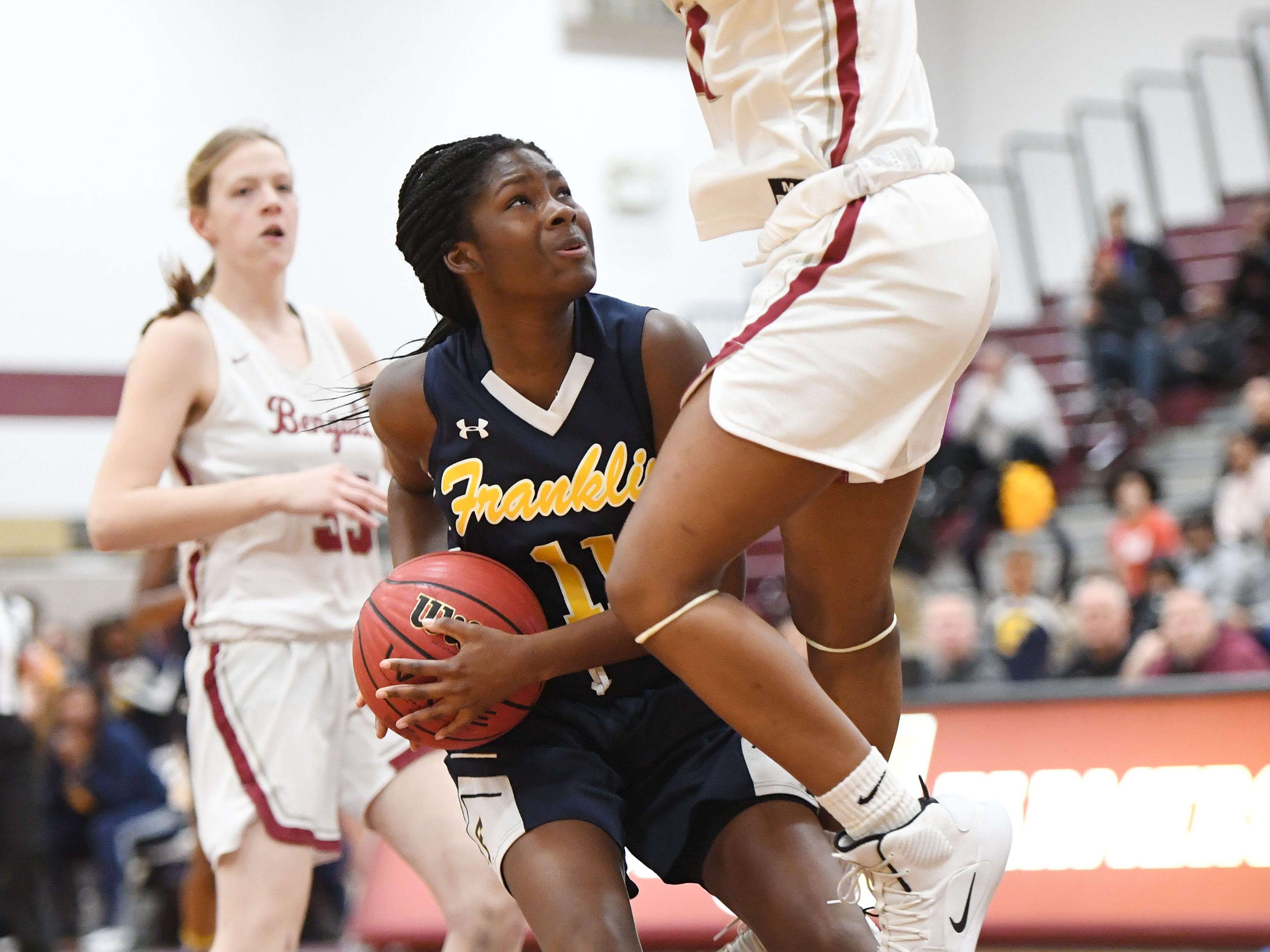 Franklin vs. Bloomfield in the girls basketball Group IV semifinal at Union High School on Thursday, March 7, 2019. F #11 Kennedy Schneck drives to the basket.