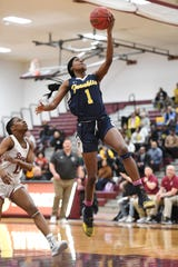 Franklin vs. Bloomfield in the girls basketball Group IV semifinal at Union High School on Thursday, March 7, 2019. F #1 Diamond Miller drives to the basket.