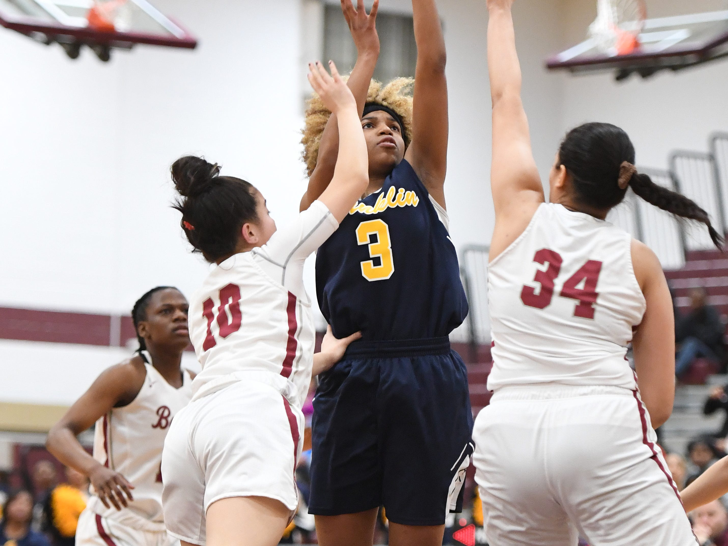 Franklin vs. Bloomfield in the girls basketball Group IV semifinal at Union High School on Thursday, March 7, 2019. F #3 Tiana Joy Jackson takes a shot.