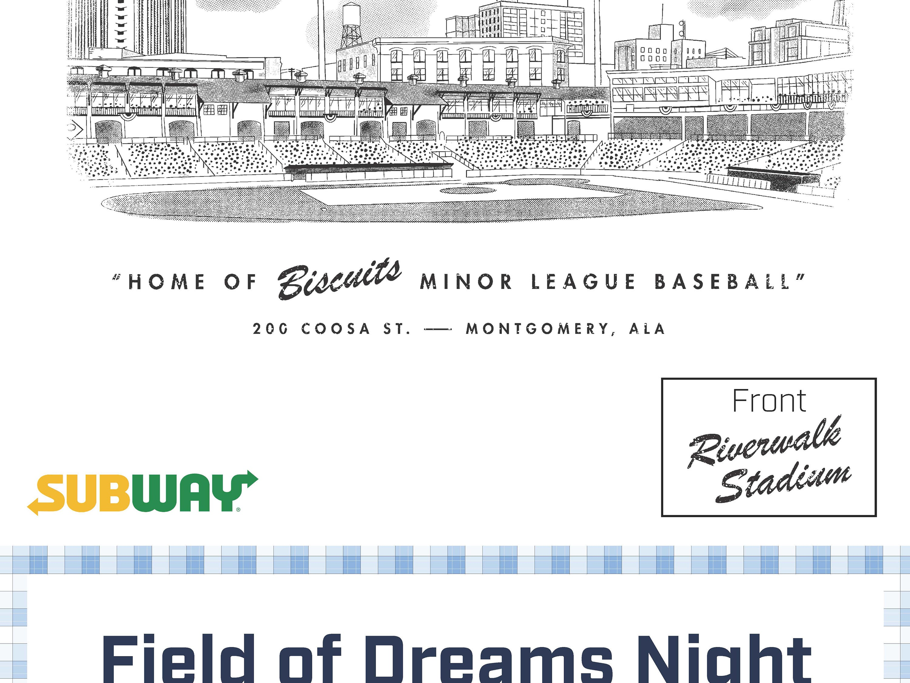 Montgomery Biscuits free t-shirt giveaway design for Field of Dreams Night on Thursday, April 25, 2019.