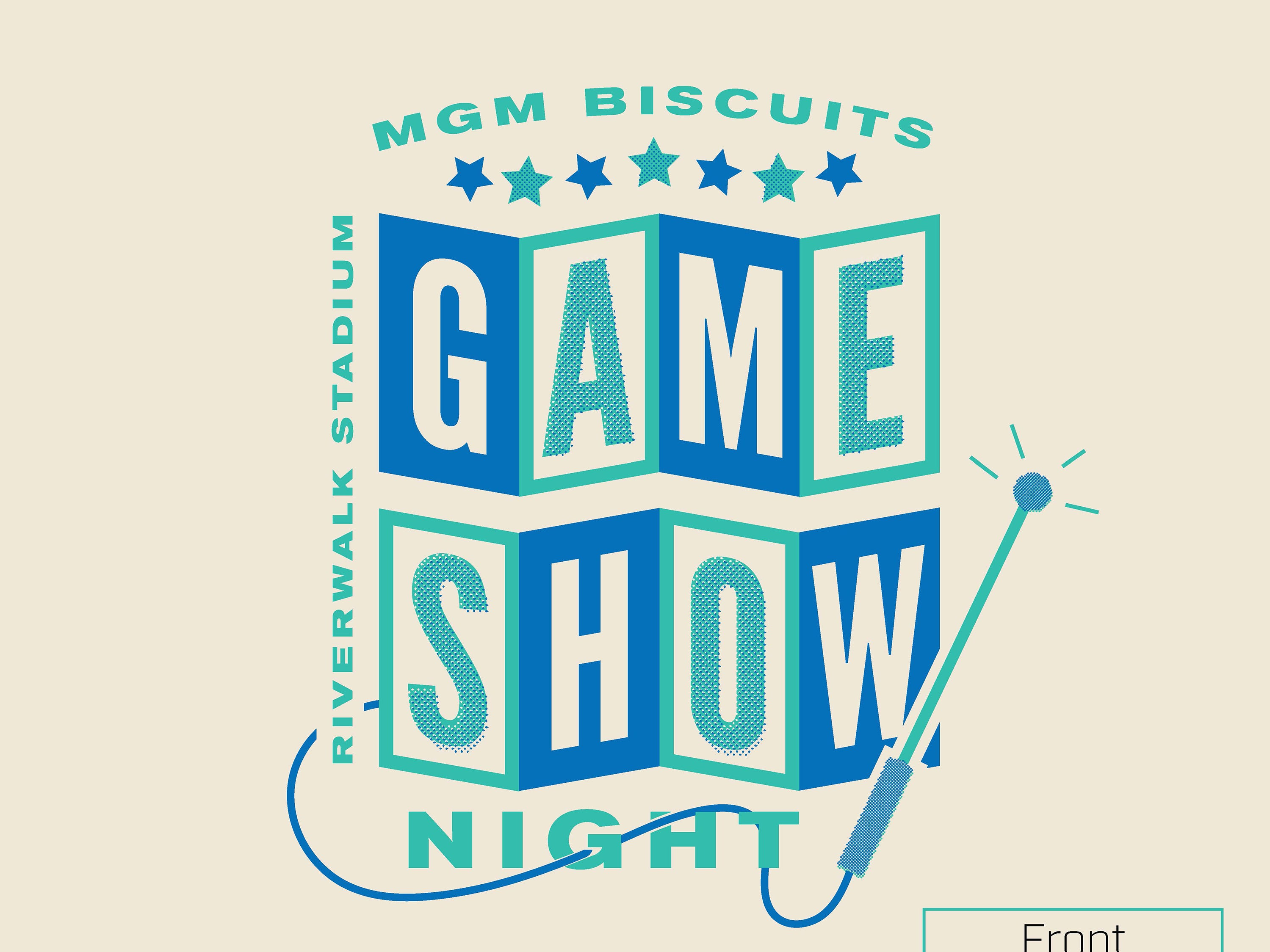 Montgomery Biscuits free t-shirt giveaway design for Game Show Night on June 13, 2019.