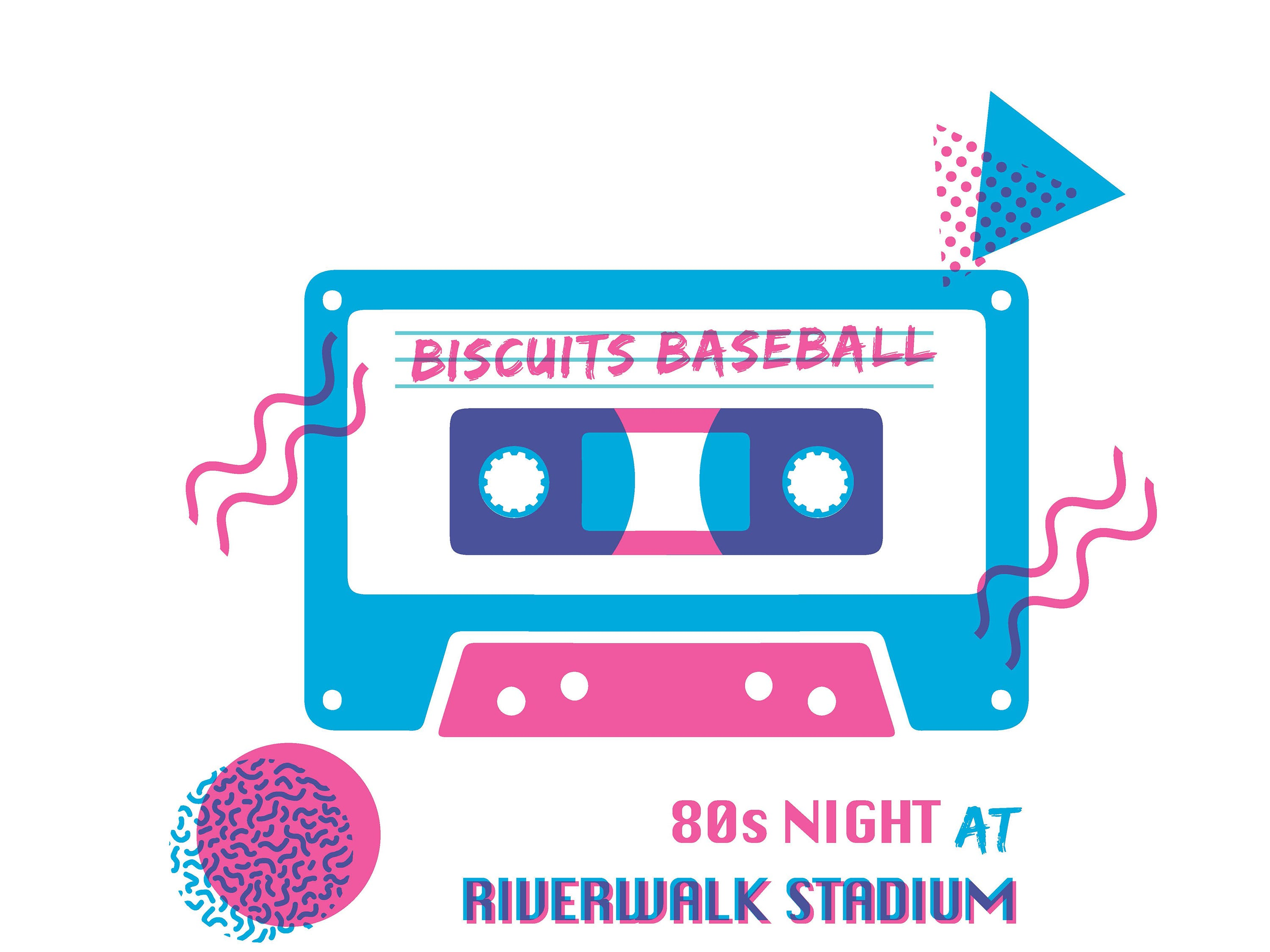 Montgomery Biscuits free t-shirt giveaway design for 80s Night on Thursday, June 6, 2019.