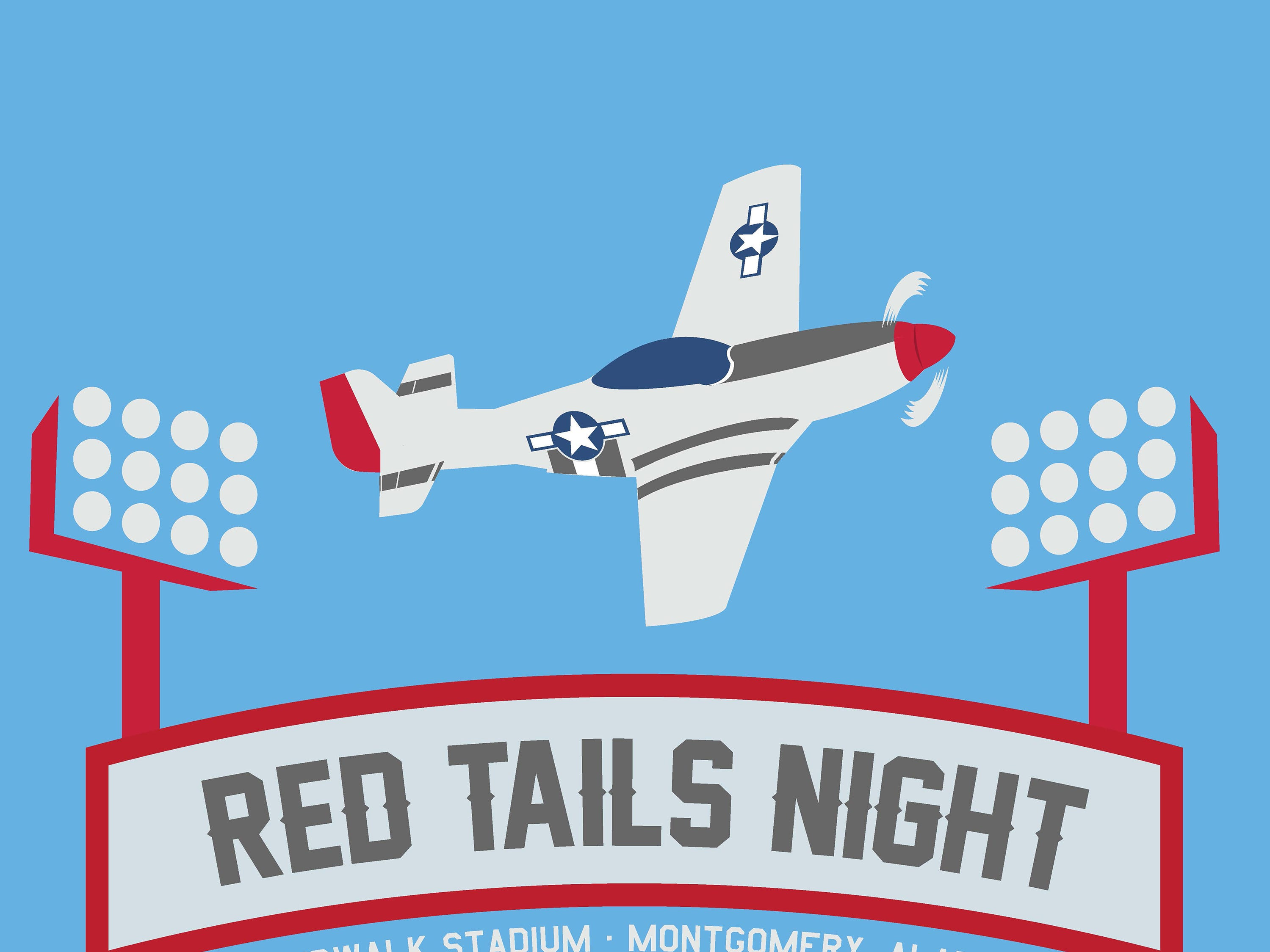 Montgomery Biscuits free t-shirt giveaway design for Red Tails Night on Thursday, June 27, 2019.