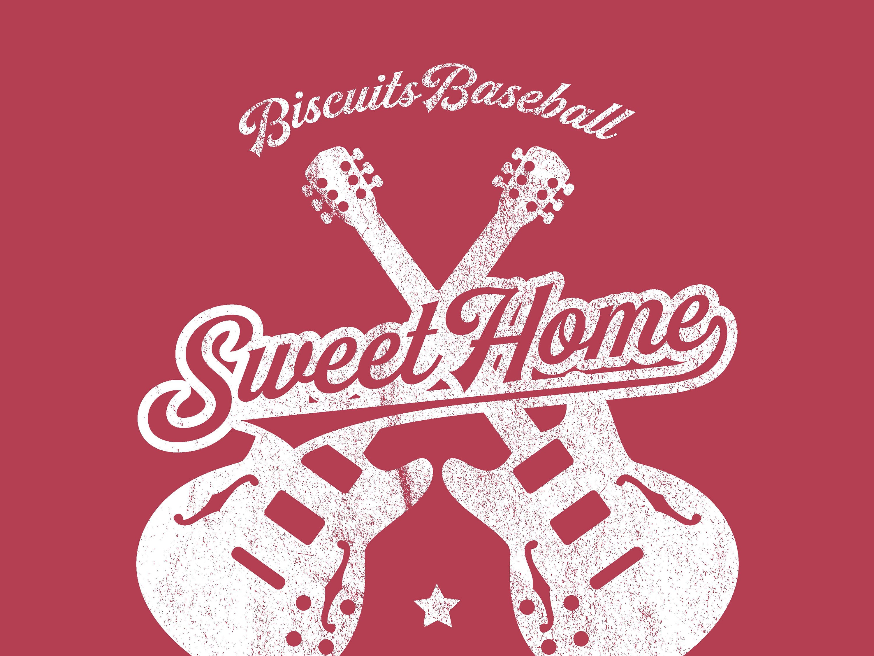 Montgomery Biscuits free t-shirt giveaway design for Southern Rock Night on Thursday, May 23, 2019.