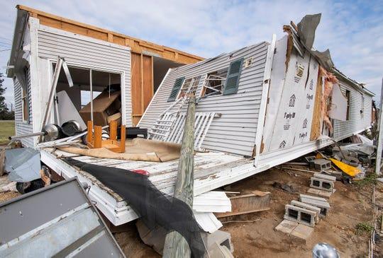 A damaged mobile home in Beauregard, Ala., on Friday March 8, 2019. A fatal tornado struck Beauregard on Sunday March 3, 2019.