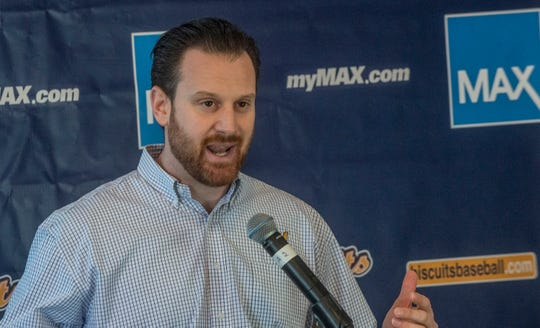 Mike Murphy, general manager for the Montgomery Biscuits, announces promotions for the 2019 season on Thursday, March 7, 2019.