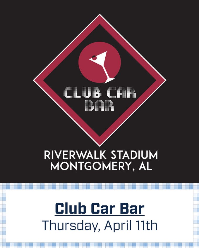 Montgomery Biscuits free t-shirt giveaway design for Club Car Bar on Thursday, April 11, 2019.