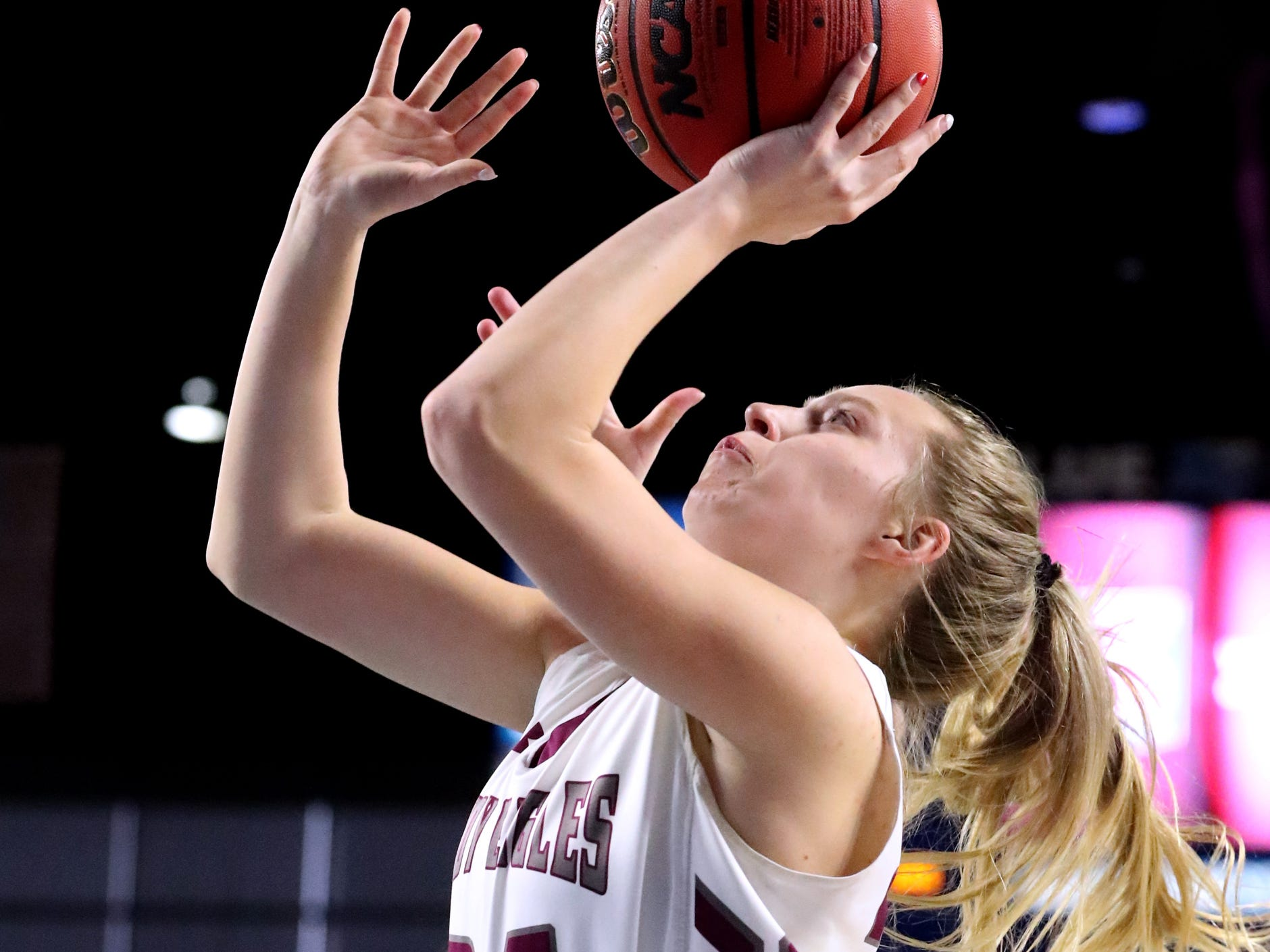 Eagleville's Anna Grace Clement (24) goes up for a shot during the quarterfinal round of the TSSAA Div. 1 Class A Girls State Tournament against Midway, on Thursday, March 7, 2019, at Murphy Center in Murfreesboro, Tenn.