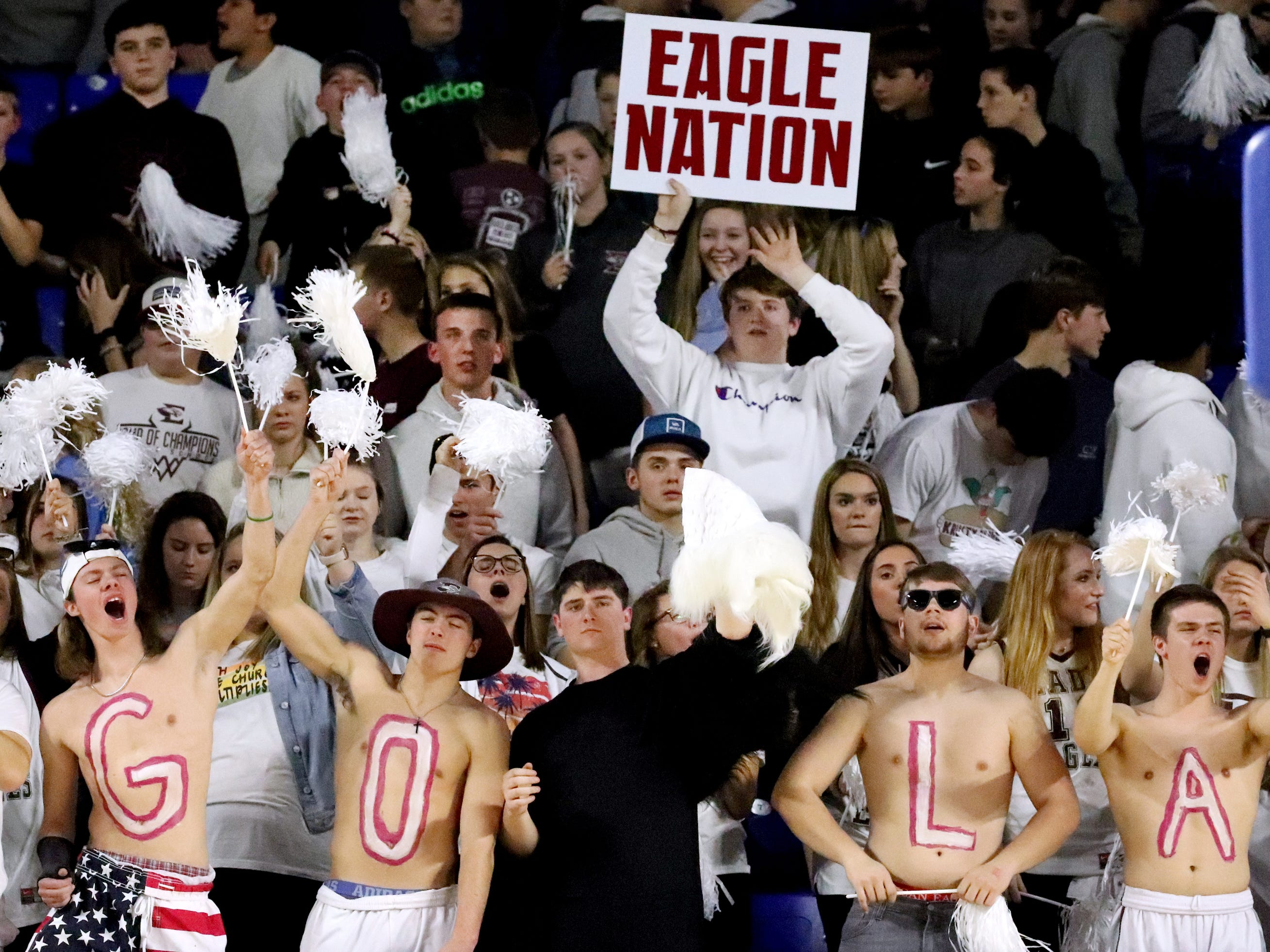 Eagleville fans cheer on their school as they take on Midway during the quarterfinal round of the TSSAA Div. 1 Class A Girls State Tournament, on Thursday, March 7, 2019, at Murphy Center in Murfreesboro, Tenn.