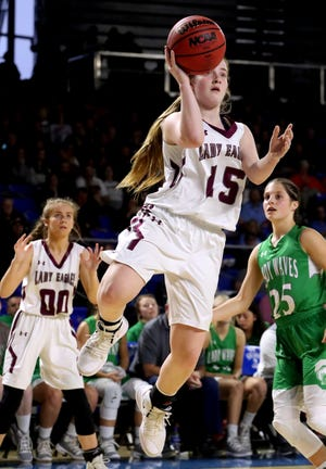 Eagleville's Makayla Moates fires a shot during last year's state tournament. Moates was voted area girls top athlete during the holiday break.