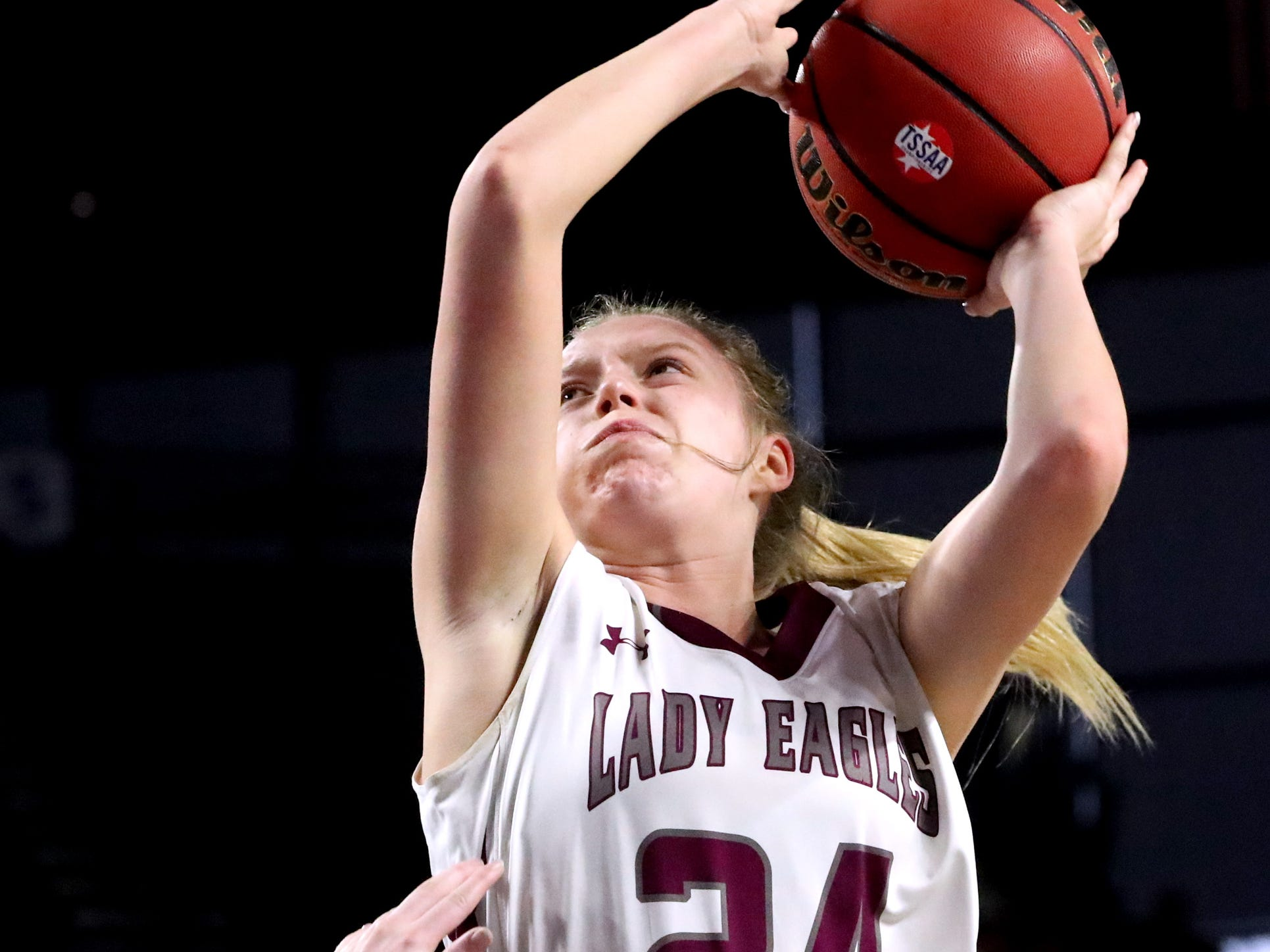 Eagleville's Anna Grace Clement (24) shoots the ball during the quarterfinal round of the TSSAA Div. 1 Class A Girls State Tournament against Midway, on Thursday, March 7, 2019, at Murphy Center in Murfreesboro, Tenn.