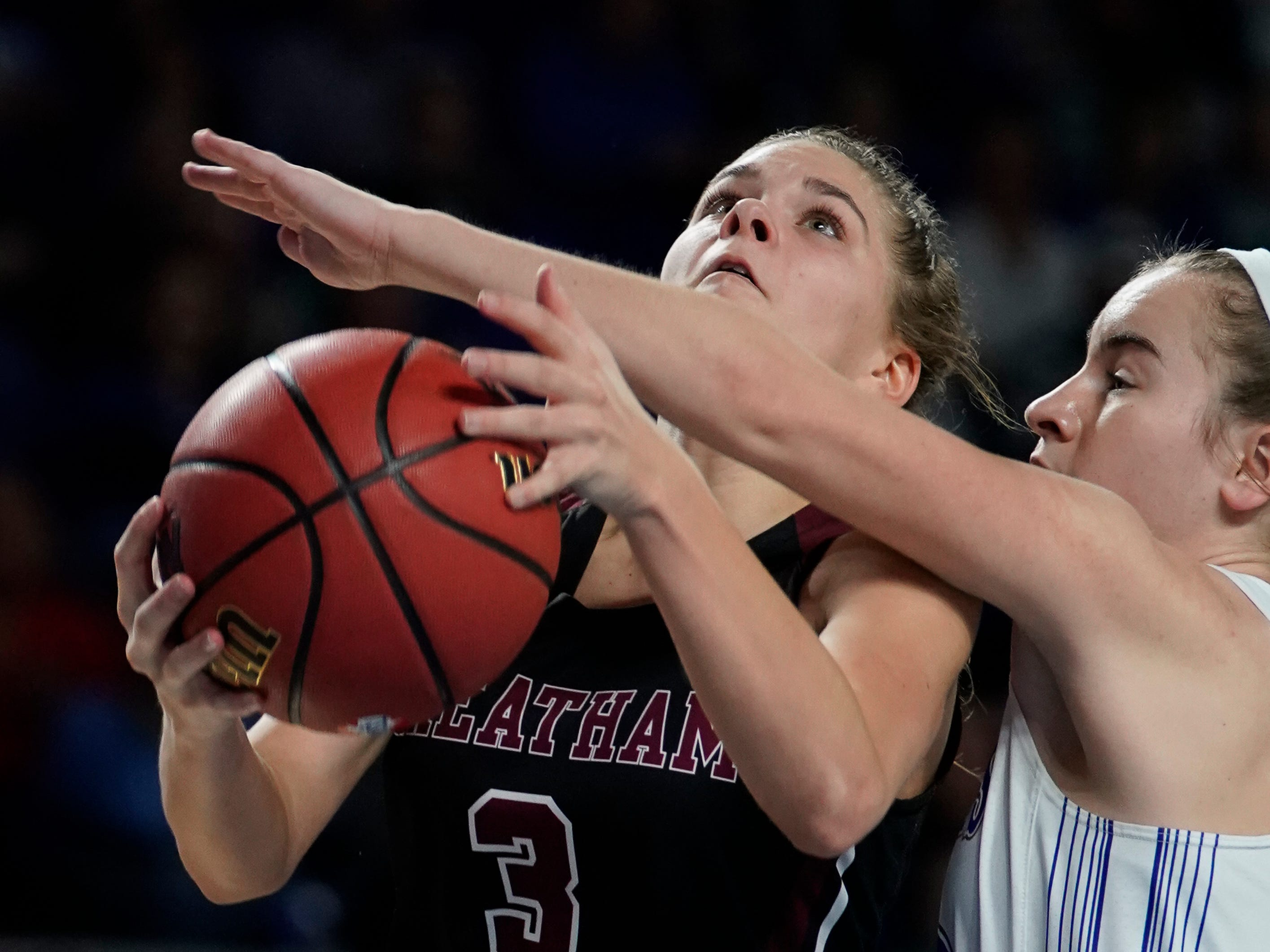 Cheatham Co. guard Emmy Nelson (3) is fouled by Macon Co. guard forward McKaylee Mix (42) during the second half of their semifinal game in the Division I Class AA Girls TSSAA Girls State Championships at Murphy Center Friday, March 8, 2019 in Murfreesboro, Tenn.